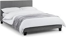 Rialto Linen Fabric Lift-Up Storage Double Bed In