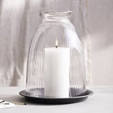 Ribbed Domed Glass Candle Holder with Tray -