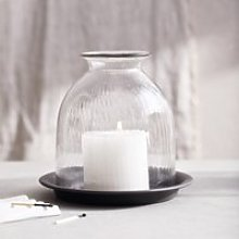 Ribbed Domed Glass Medium Candle Holder With Tray,
