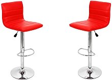 Ribble Red Leather Bar Stool In Pair