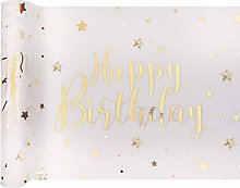 RIBBON WRITER white/gold metallic Happy Birthday