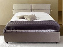 Ribbony upholstered double bed with fixed base