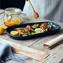 Rice Bowl Dark Green Handmade Long Plate,