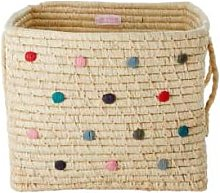 Rice by Rice - Raffia Basket with Dots - one size
