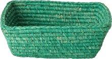 rice - Green Rectangular Raffia Bread Basket