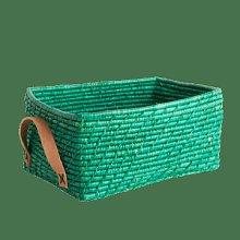 rice - Rectangular Raffia Basket Green