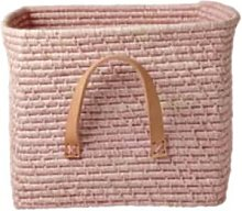 rice - Soft Pink Raffia Basket with Leather