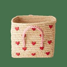 rice - Square Raffia Basket Natural Hearts