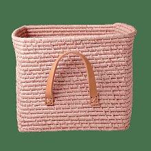 rice - Square Raffia Basket Soft Pink