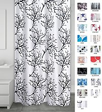 Ridder Textile Coral Shower Curtain, White/Black