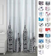 Ridder Textile Freedom Shower Curtain, White/Black