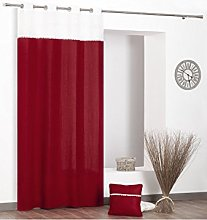 Rideaudiscount Linen Curtain with Embroidered