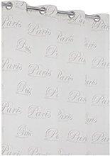 RideauDiscount Linen-Effect Net Curtain with Paris