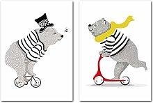 Riding Bear Baby Nursery Prints Poster Cartoon