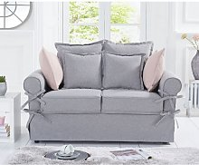 Riggs Linen Two Seater Sofa In Grey With Padded