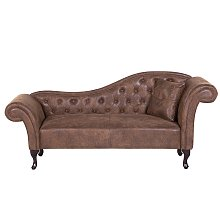 Right Hand Chaise Lounge Faux Suede Brown LATTES