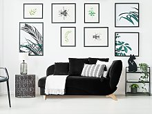Right Hand Chaise Lounge in Black with Storage