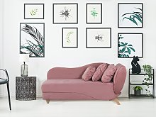 Right Hand Chaise Lounge in Pink with Storage