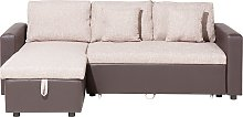 Right Hand Corner Fabric Sofa Bed Beige TAMPERE