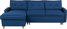 Right Hand Corner Sofa Bed with Storage Navy Blue
