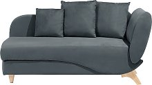 Right Hand Fabric Chaise Lounge with Storage Dark