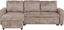 Right Hand Faux Leather Corner Sofa Bed Storage