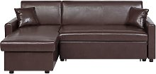 Right Hand Faux Leather Corner Sofa Bed with