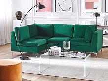 Right Hand Modular Corner Sofa Green Velvet 4