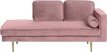 Right Hand Velvet Chaise Lounge Pink MIRAMAS