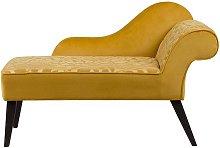 Right Hand Velvet Chaise Lounge Yellow BIARRITZ
