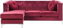 Right Hand Velvet Corner Sofa Burgundy FLEN