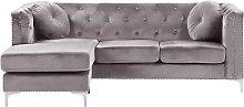 Right Hand Velvet Corner Sofa Grey FLEN