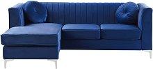 Right Hand Velvet Corner Sofa Navy Blue TIMRA