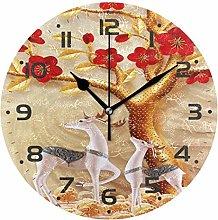 Rindeer Flower Blossom Wall Clock Quartz Analog