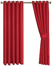 Ring Top Curtains Pair Of Fully Lined 100% Faux