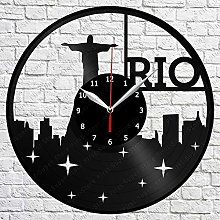 Rio De Janeiro Skyline Vinyl Record Wall Clock