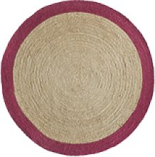 Ripley Natural Jute Round Rug with Pink Border -