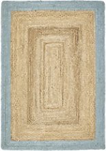 Ripley Natural Jute Rug with Blue Border -