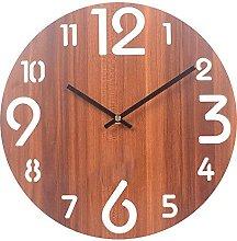 RIQWOUQT Wall Clock Dark Brown Digital Wooden 3D