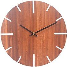RIQWOUQT Wall Clock Dark Brown Simple Wooden 3D