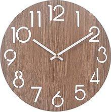 RIQWOUQT Wall Clock Digital Gray-Brown Wooden 3D