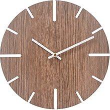 RIQWOUQT Wall Clock Gray-Brown Minimalist Wooden