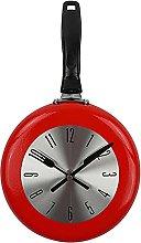 RIQWOUQT Wall Clock Red Kitchen Clock Frying Pan