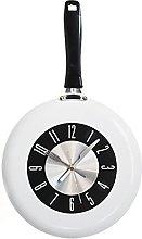 RIQWOUQT Wall Clock White Kitchen Clock Frying Pan