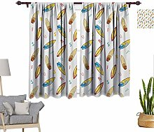 RityoDecor Surfboard Window Curtains, Hand Drawn