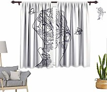 RityoDecor Tattoo Window Curtains, Sexy Woman with