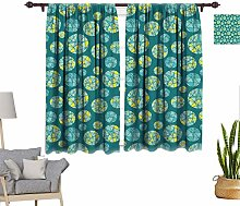 RityoDecor Teal Window Curtains, Geometric Mosaic