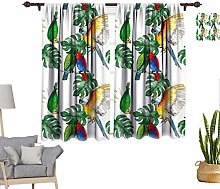 RityoDecor Tropical Window Curtains, Bright Parrot