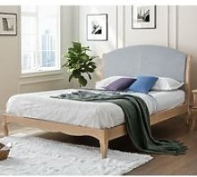 Ritz Grey Fabric and Oak Wooden Bed Frame - 4ft6