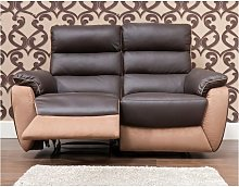 Ritz Reclining 2 Seater Leather And Fabric Sofa